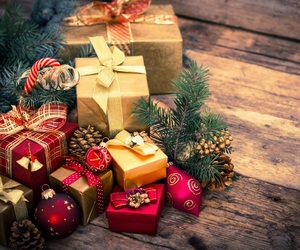 christmas, green, and gifts image