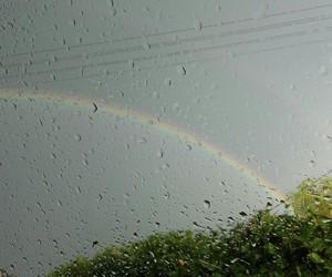 outside, rain, and rainbow image