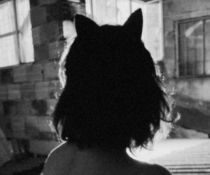 aesthetics, black and white, and kitten image