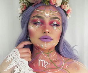 makeup, virgo, and zodiac image