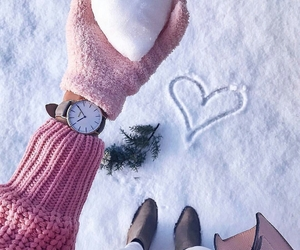 winter, snow, and heart image