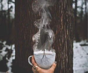 coffee, snow, and tree image