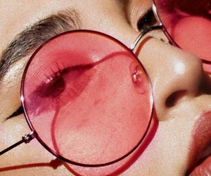 pink, aesthetic, and glasses image
