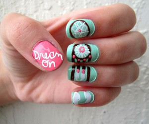 nails, dream catcher, and pink image
