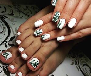 leaves, manicure, and nail image