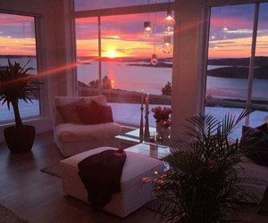 room, sun, and sunset image