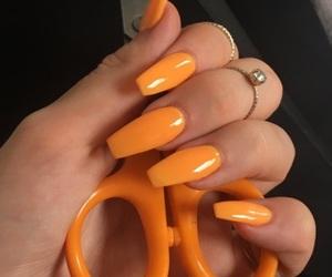 nails, orange, and manicure image