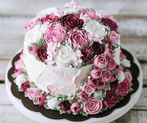 rose, cake, and pink image