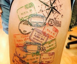 tattoo, travel, and passport image