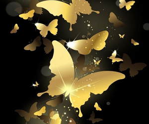 butterfly, gold, and wallpaper image