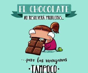 chocolate, frases español, and reir image