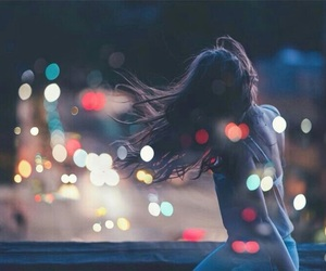 lights, girl, and night image