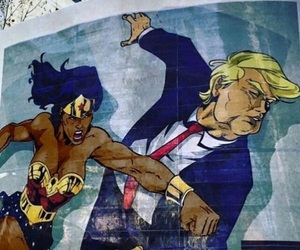 wonder woman, art, and donald trump image