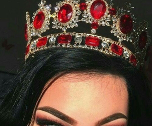 girl, crown, and red image