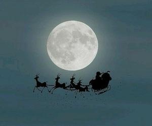 christmas, santa, and moon image