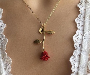 rose, necklace, and aesthetic image