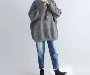 etsy, gray coat, and loose coat image