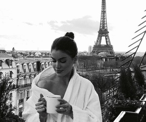 paris, black and white, and coffee image