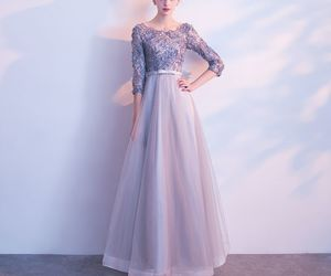 girl, grey, and prom dresses image