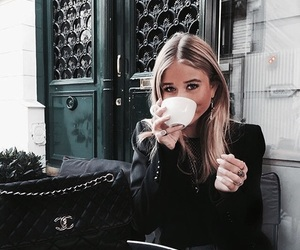girl, coffee, and chanel image