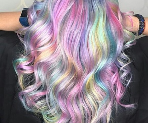 beautiful, colorful, and curly hair image