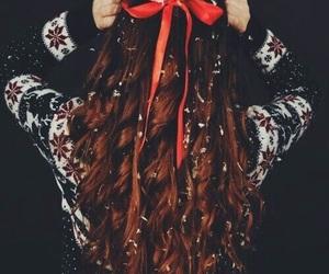 hair, christmas, and snow image