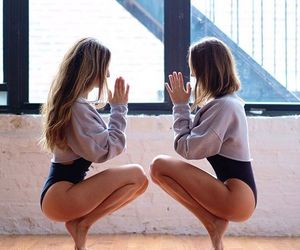 fitness, yoga, and friends image