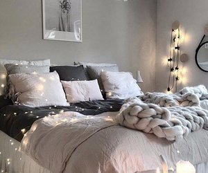bed, candles, and room image