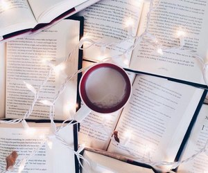 books, garlands, and coffee image