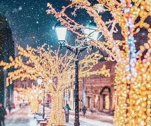 christmas, winter, and christmas lights image