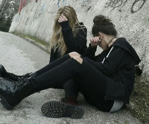 grunge, girl, and black image