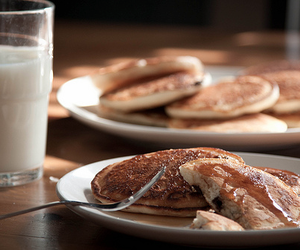 pancakes, food, and milk image