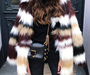 fashion, outfit, and fur coat image