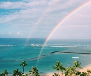 rainbow, beach, and sky image