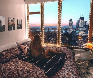 bedroom, city, and cosy image