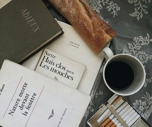 coffee, book, and cigarette image