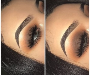 brown, eyelashes, and makeup image