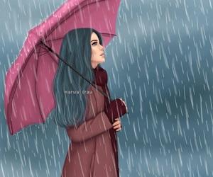 rain, art, and girl image