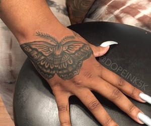 butterfly, hand tattoo, and nails image