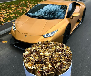 car, gold, and flowers image