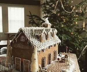 christmas, decorating, and gingerbread house image