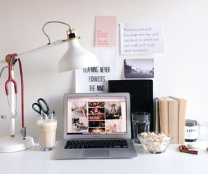 desk, laptop, and study image
