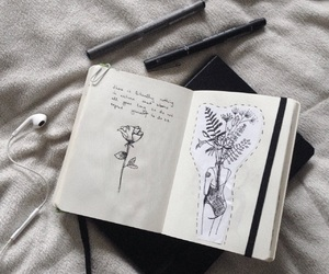 drawing, flower, and journal image