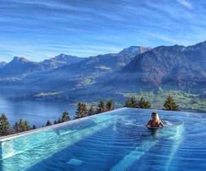 pool, nature, and blue image