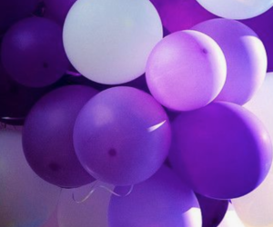 purple, balloons, and white image