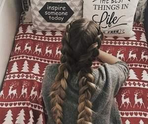 girl, braid, and christmas image