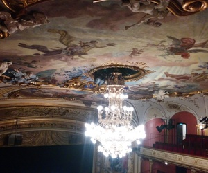 architecture, ceiling, and chandelier image