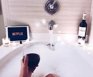 netflix, bath, and wine image