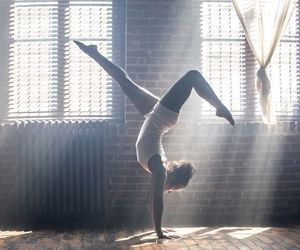 fitness, gym, and handstand image