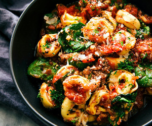 food, pasta, and spinach image